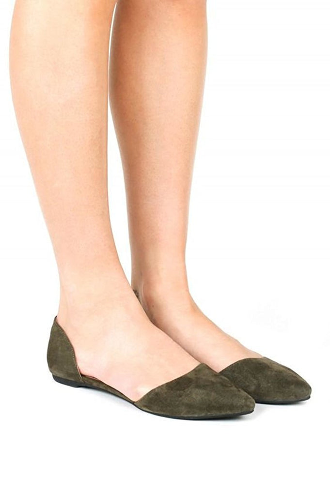 Jeffrey Campbell In Love Khaki Suede D'Orsay Slip On Pointed Almond Toe Flats
