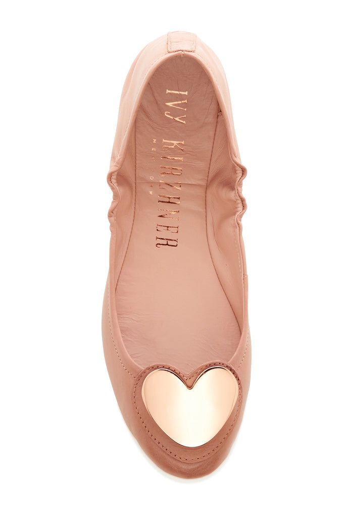 Ivy Kirzhner Candy Nude Soft Calf Leather Heart Embellished Ballet Flat