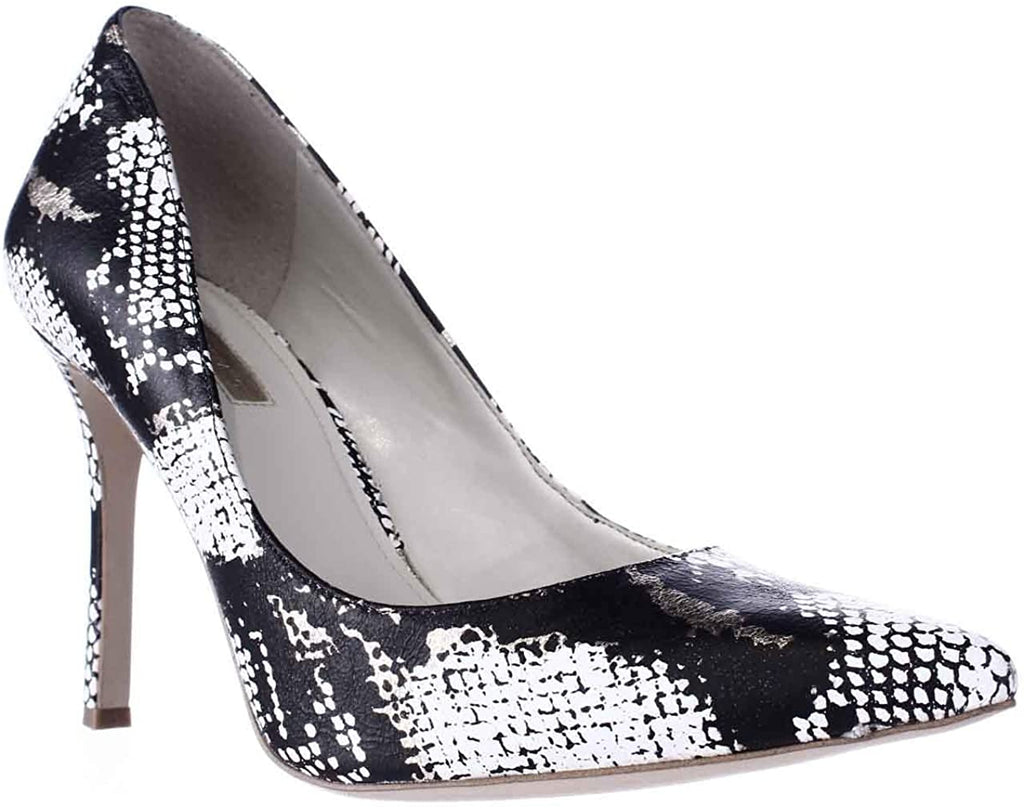Bcbgeneration Treasure Leather Y-gold Black White Snake Pumps Heels