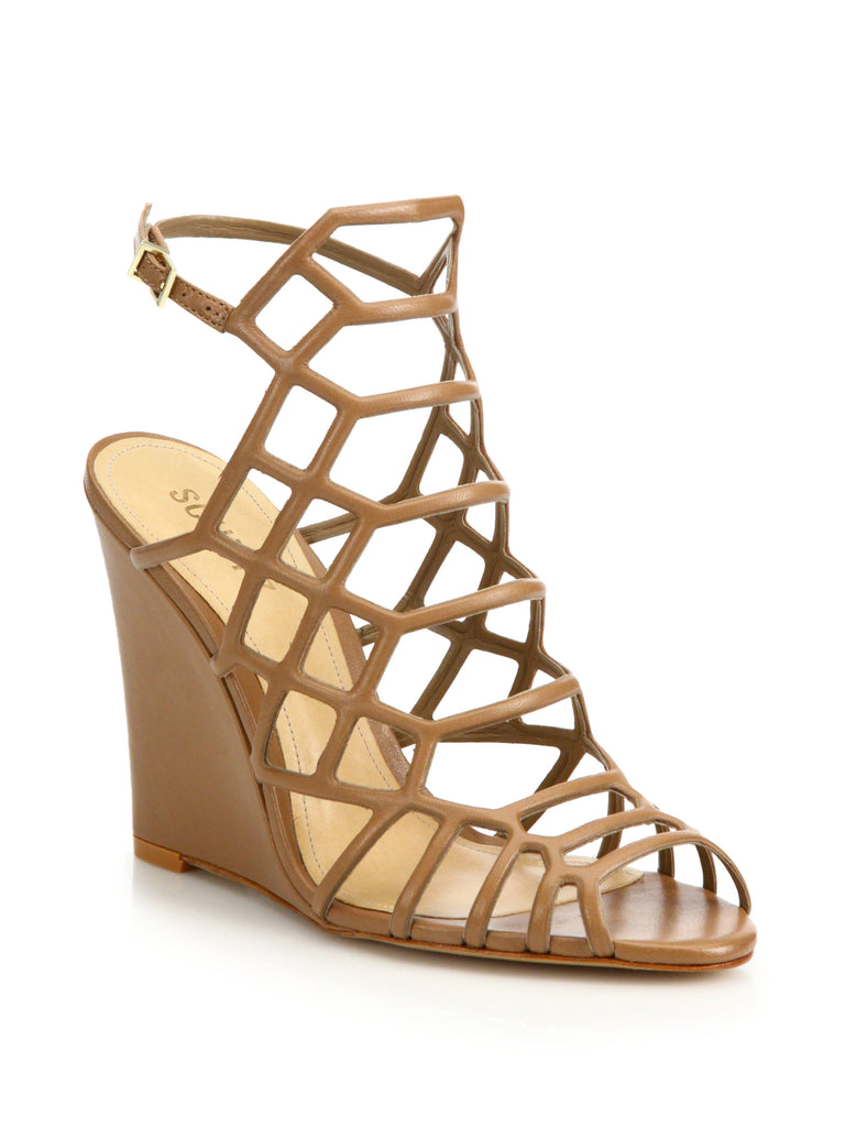 Schutz Margie New Bronze Leather Caged Wedge Single Sole Open Sandals