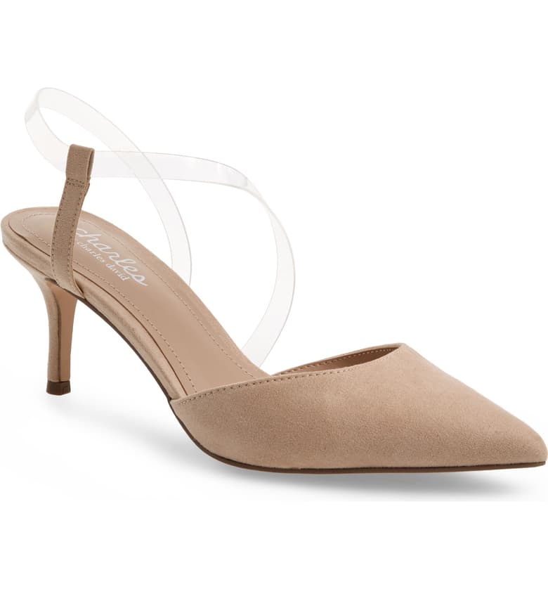 CHARLES BY Charles David Women's Alda POinted Toe Nude Clear Pump