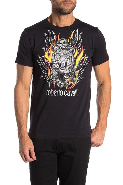 Roberto Cavalli Animal Graphic Short Sleeve Cotton T-Shirt Black FST960A02705051