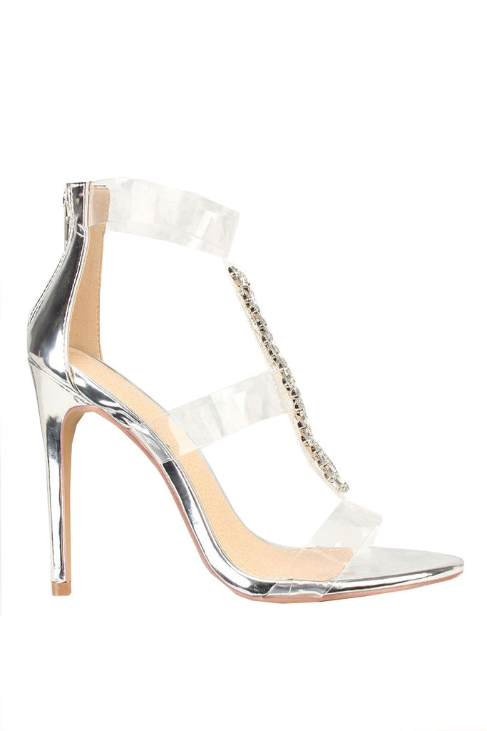 Liliana Leska-55 Silver Diamonds T-strap Clear Strap Formal Dress Sandals Pump