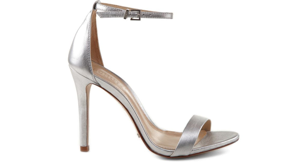Schutz Cadey-Lee Prata Silver Two Peice Ankle Strap High Heel Single Sole Sandal