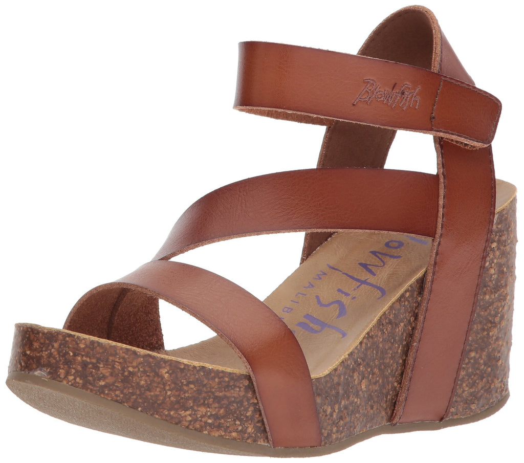 Blowfish Malibu Hapuku Wedge Sandal Scotch Brown Vegan Platfrom Footbed Sandals