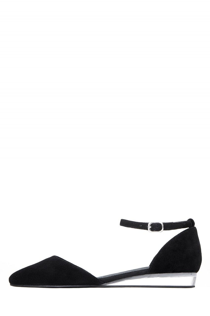 Jeffrey Campbell Honesty Black Suede Leather Upper Ankle Strap Wedge Pointed Toe