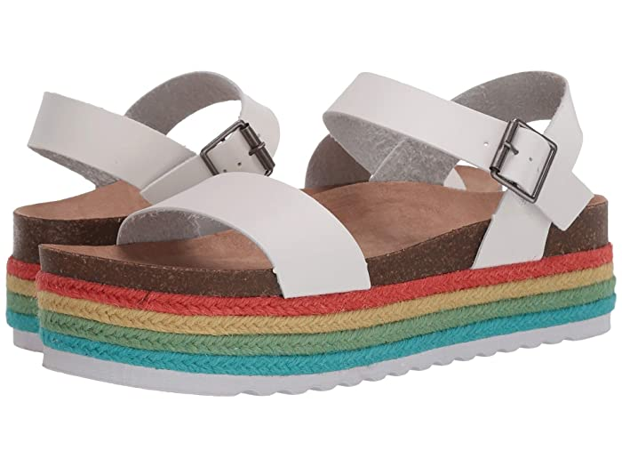 Dirty Laundry Women's Palms Espadrille Wedge Open Toe Sandals, White Multi