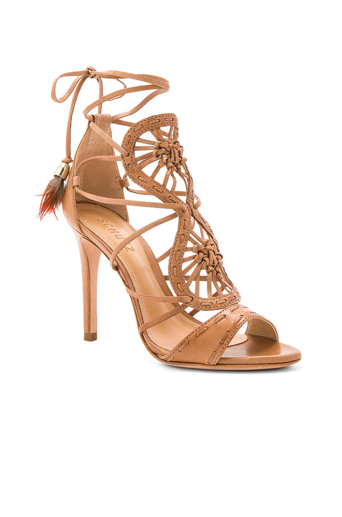 Schutz LiliAnna Desert Brown Leather Cut Out Feather Single Sole Sandals