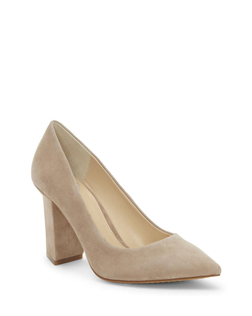 Vince Camuto Candera Pumps Shoes POinted Toe Wild Mushroom Block Heel Pumps