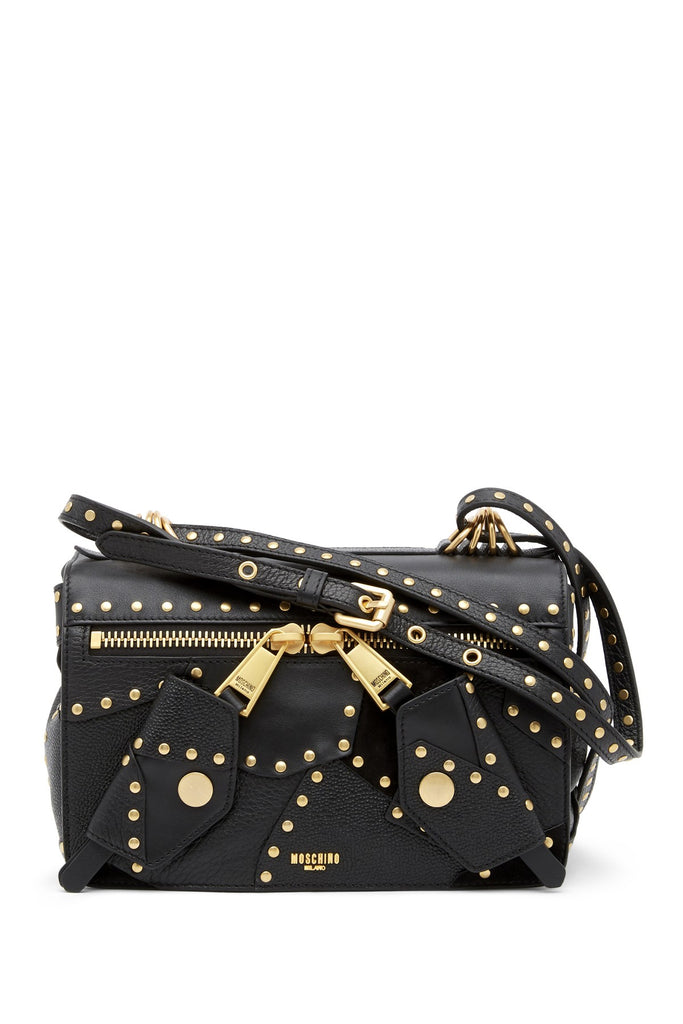 MOSCHINO Studded Leather Shoulder Bag 754280031555