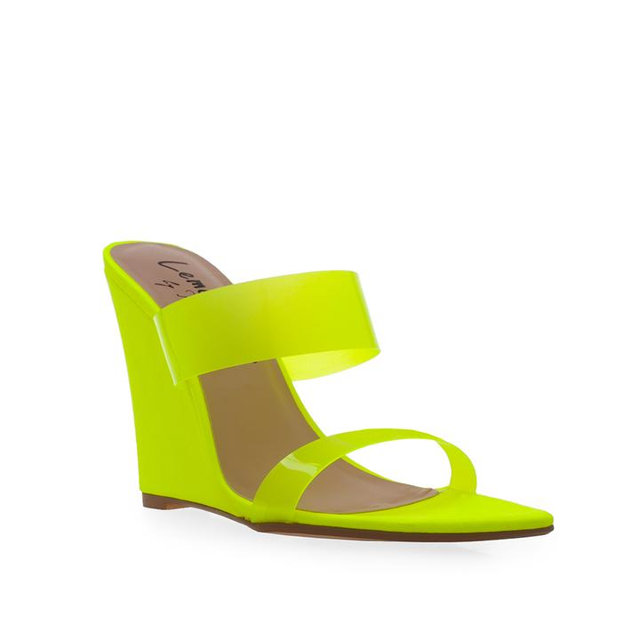 Lemon Drop Privileged Demille Neon Yellow High Wedge Clear Strap Mule Sandal
