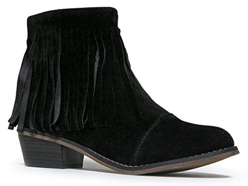 Breckelles Women Suede Fringe Cap Toe Ankle Booties Boots