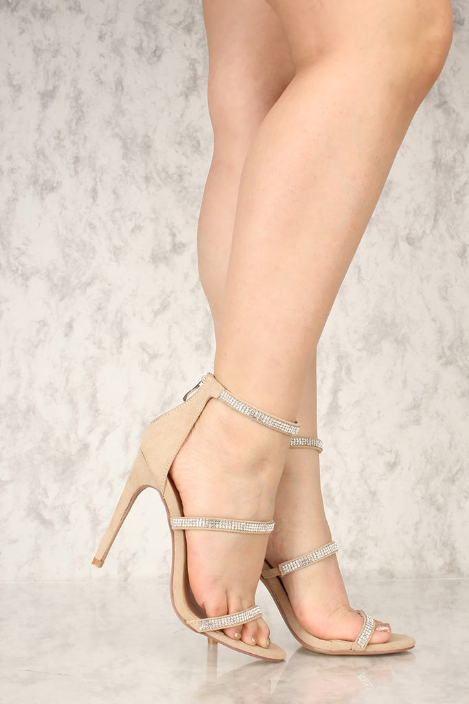 Liliana Golden-121 Nude Suede Rhinestone Embellished Triple Strap Stiletto Heel