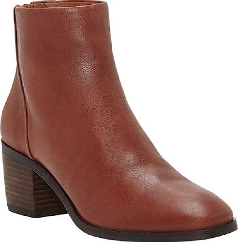 Lucky Women's LK-Magine Ankle Boot, Rye Cognac Brown Leather Block Heel Booties
