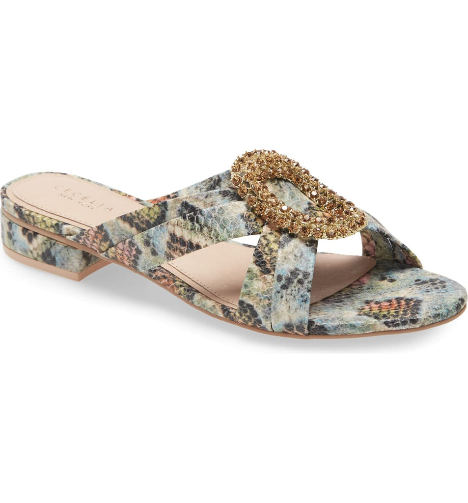 Cecelia New York Paradise Slide Sandal Rainbow Slip On Stone Embellished Mule