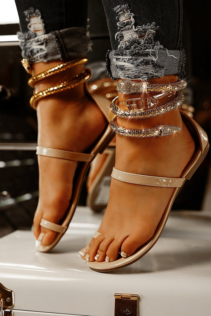 Cape Robbin | SNAKE TONIGHT WE ARE VICTORIOUS FLAT SNAKE SANDAL-NUDE