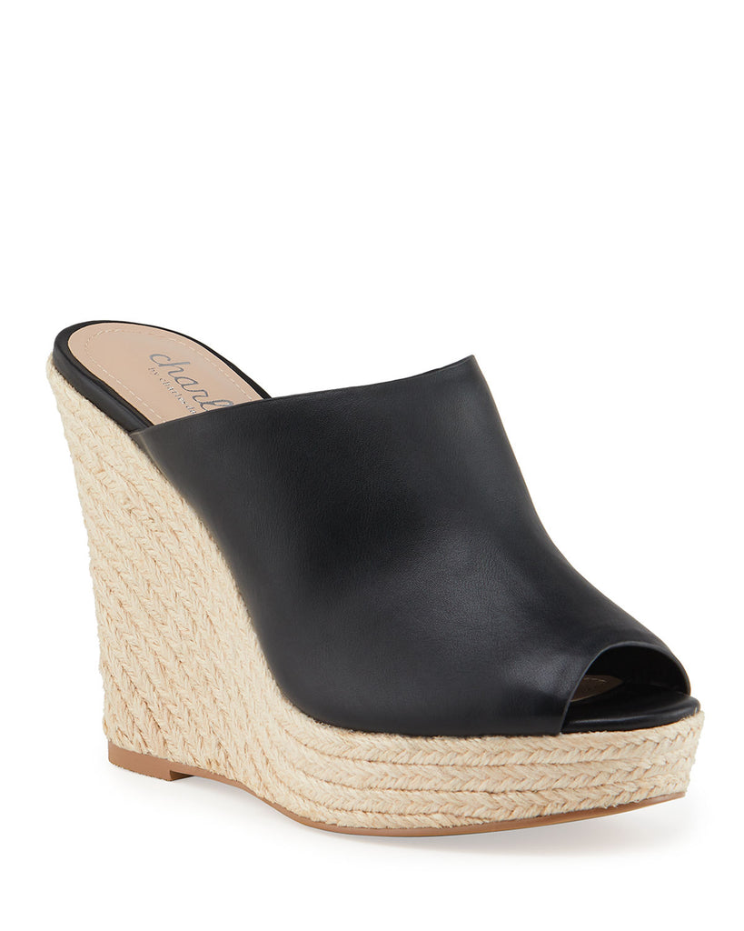 Charles by Charles David Andes Leather Wedge Espadrilles Black Leather Peep Toe