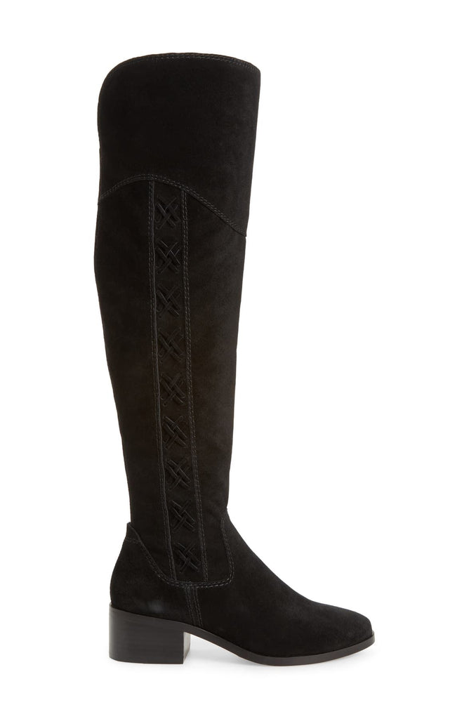 Vince Camuto KREESELL Pointed Toe Suede Round toe Knee High Boot BLACK