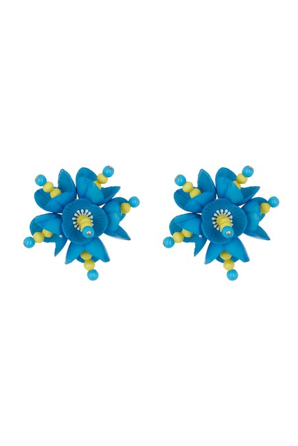 MOSCHINO Floral Clip-On Earrings LIGHTBLUE 910983011341