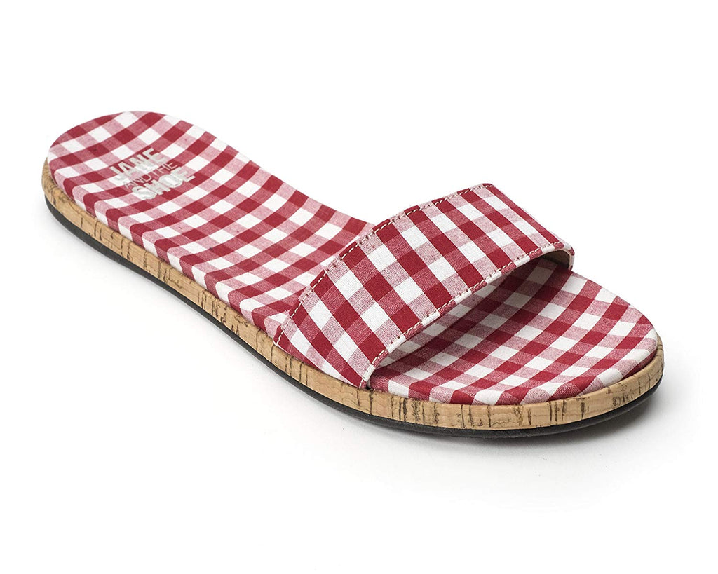 Jane and the Shoe, Jill Thin Band Slide Sandal Red Gingham Plaid Slide