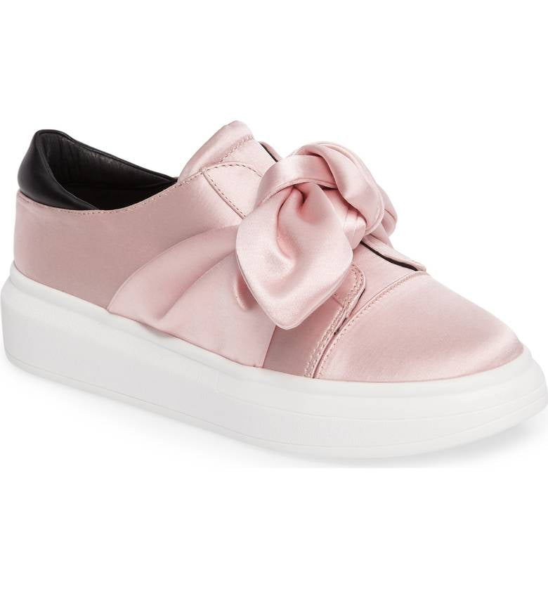 SHELLYS LONDON Edgar Pink Platform Slip-On Platform Sneaker Oversized Bow