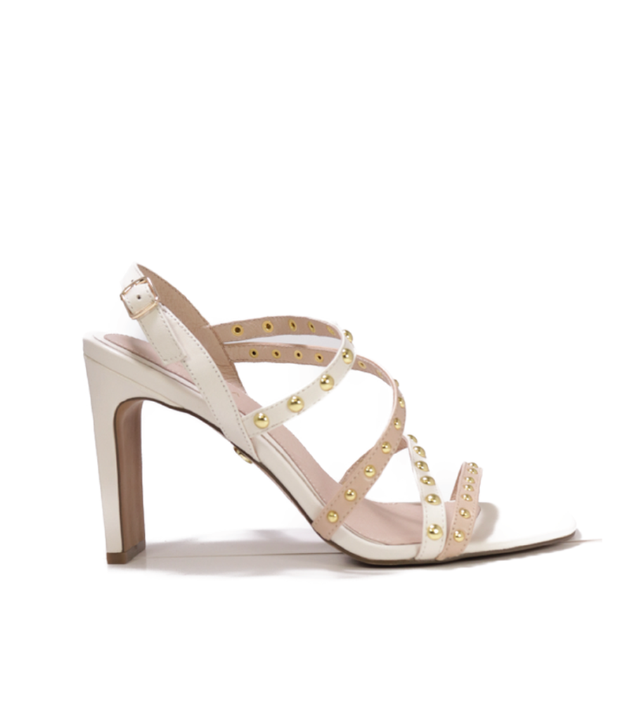 Cecelia New York Vanessa Studded Sandal Nude White Open Toe High Pump