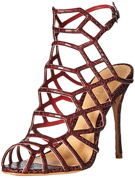 Schutz Juliana Dress Sandal Red Wine Crocodile High Stiletto Heel Single Sole
