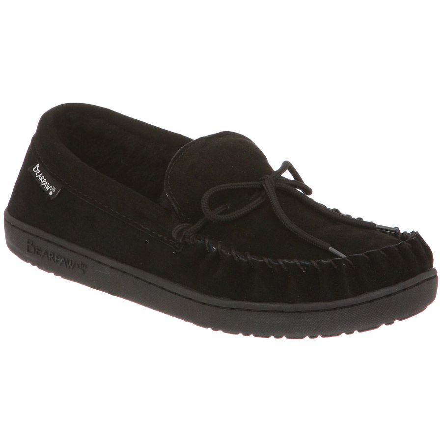 Bearpaw Mens Moc II Black Suede Sheep Lined Warm Comfortable Moccasins