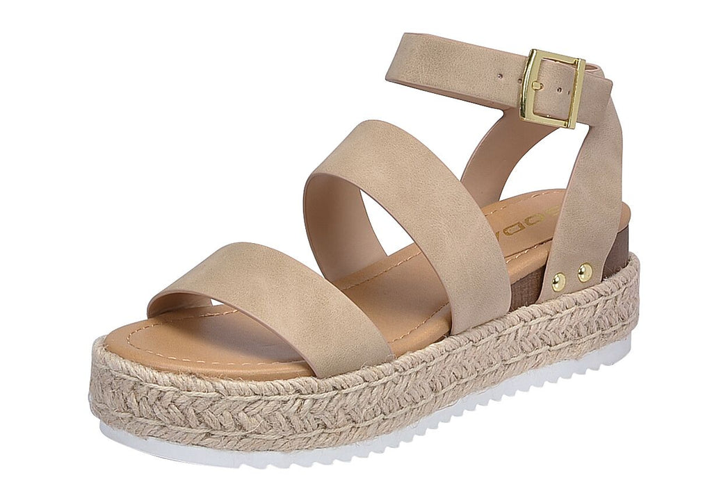 Soda Bryce Taupe Women's Open Toe Ankle Strap Espadrille Sandal (7.5)