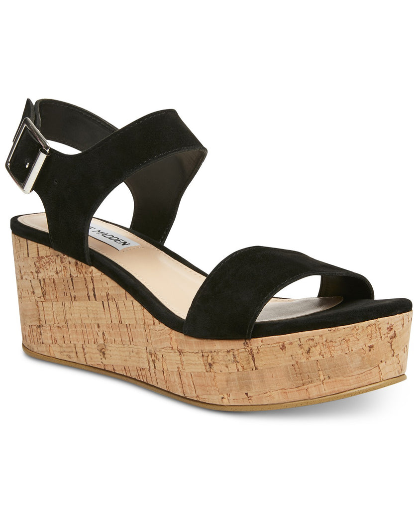 Steve Madden Breathe Black Nubuck Suede Cork Flatform Wedge Platform sandals