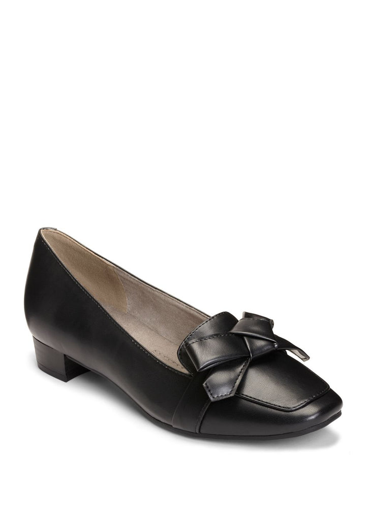 Aerosoles Black Bow Detail Vamp Slip On Low Heeled Comfortable Classic Loafer