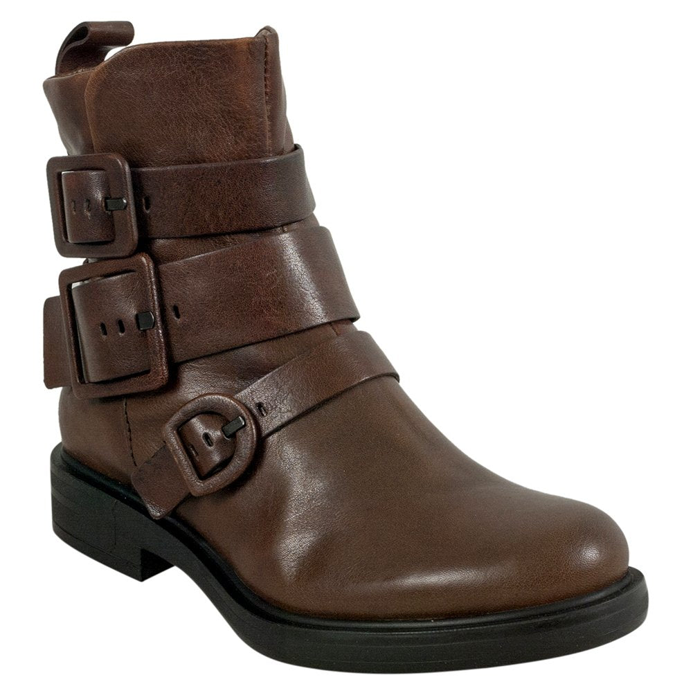 Miz Mooz Casper Women's Ankle Boot Buckle Brown Leather Boots