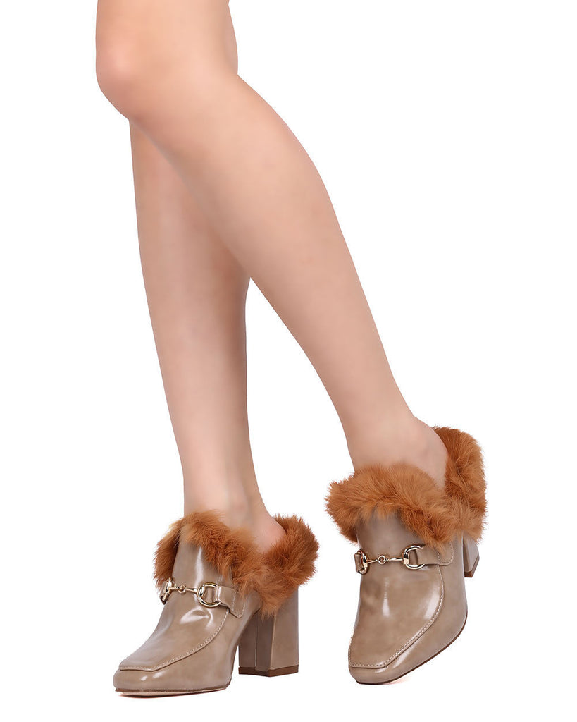 Cape Robbin Bridget-4 Mixed Media Fur Trim Chunky Heel Mule