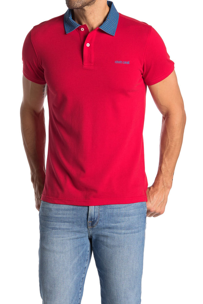 Roberto Cavalli Pipe Trim Patch Pocket Short Sleeve Polo ROSSO FSR682JD06402000