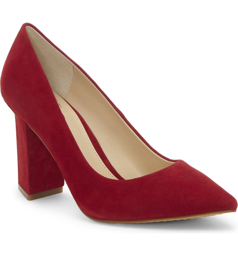 Vince Camuto CANDERA Pump Red Suede Pointed Toe Block Heel Dress Pumps