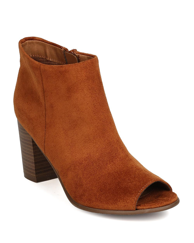 Breckelles Women Amber-31 Faux Suede Chunky Stacked Heel Tan Bootie