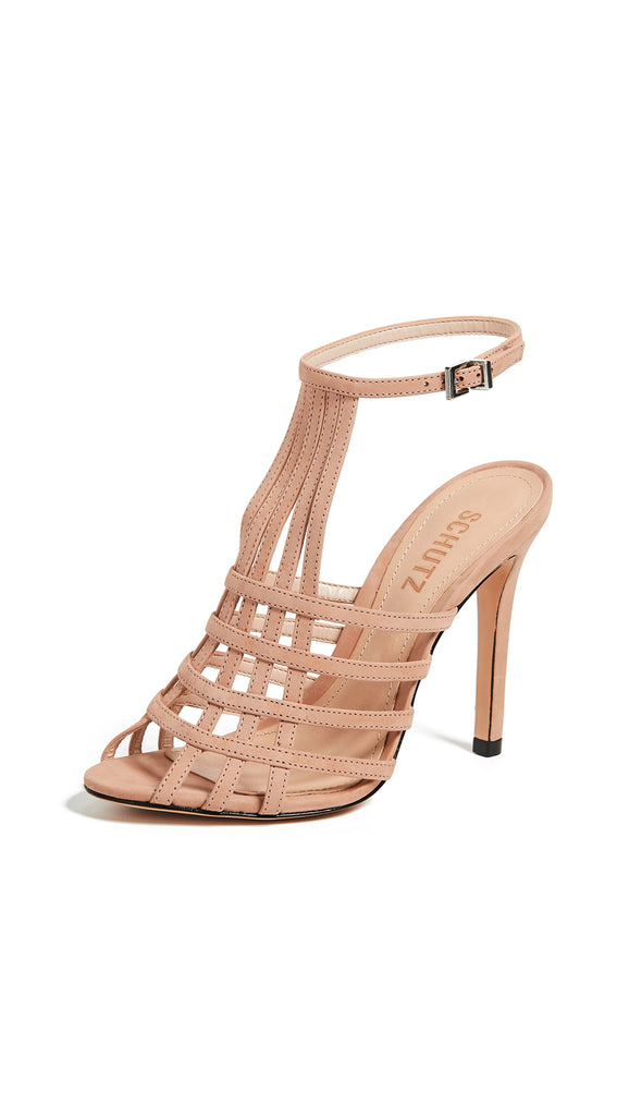 Schutz Joely Strappy Sandal Pumps Honey Beige Nude Open Toe Strappy Heel