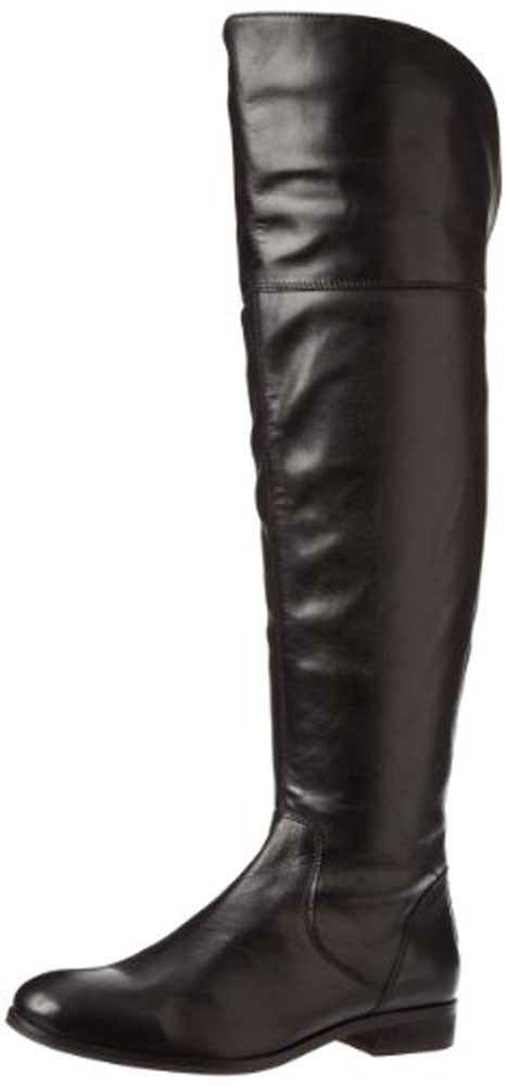 Luichiny Women's Peg Gee Riding Boot Black Leather Over Knee Flat Boots