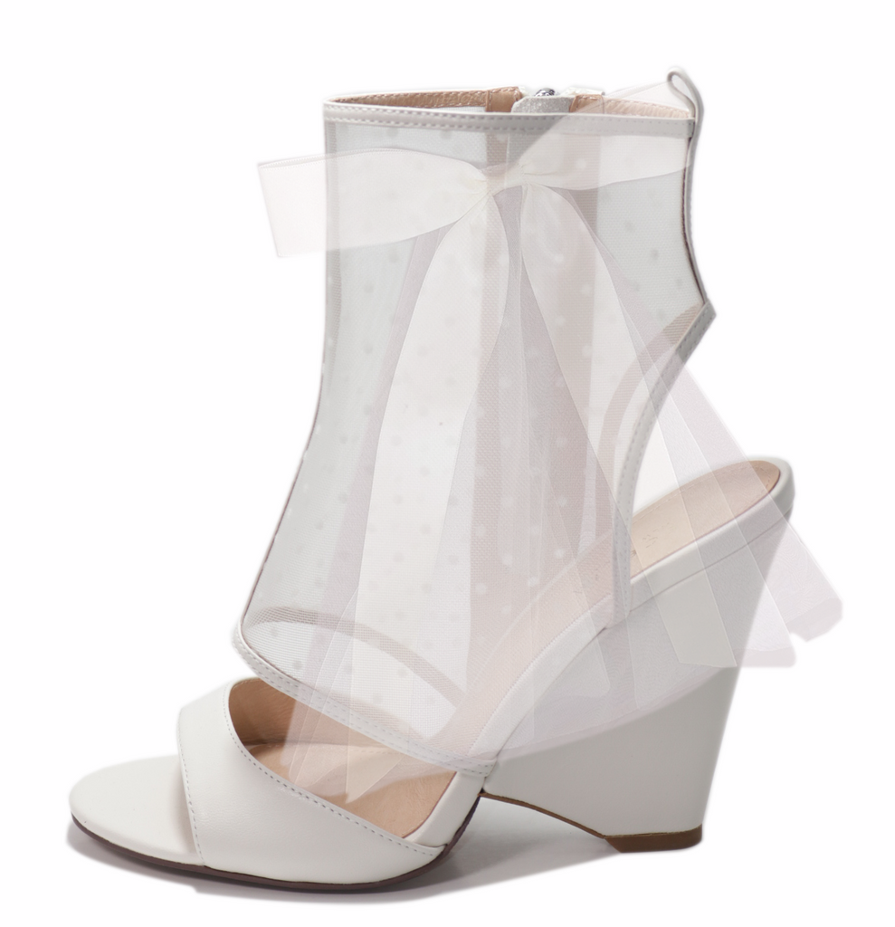 Cecelia New York AMELIA Peep Toe Shootie White Mesh Cone Heel Pumps