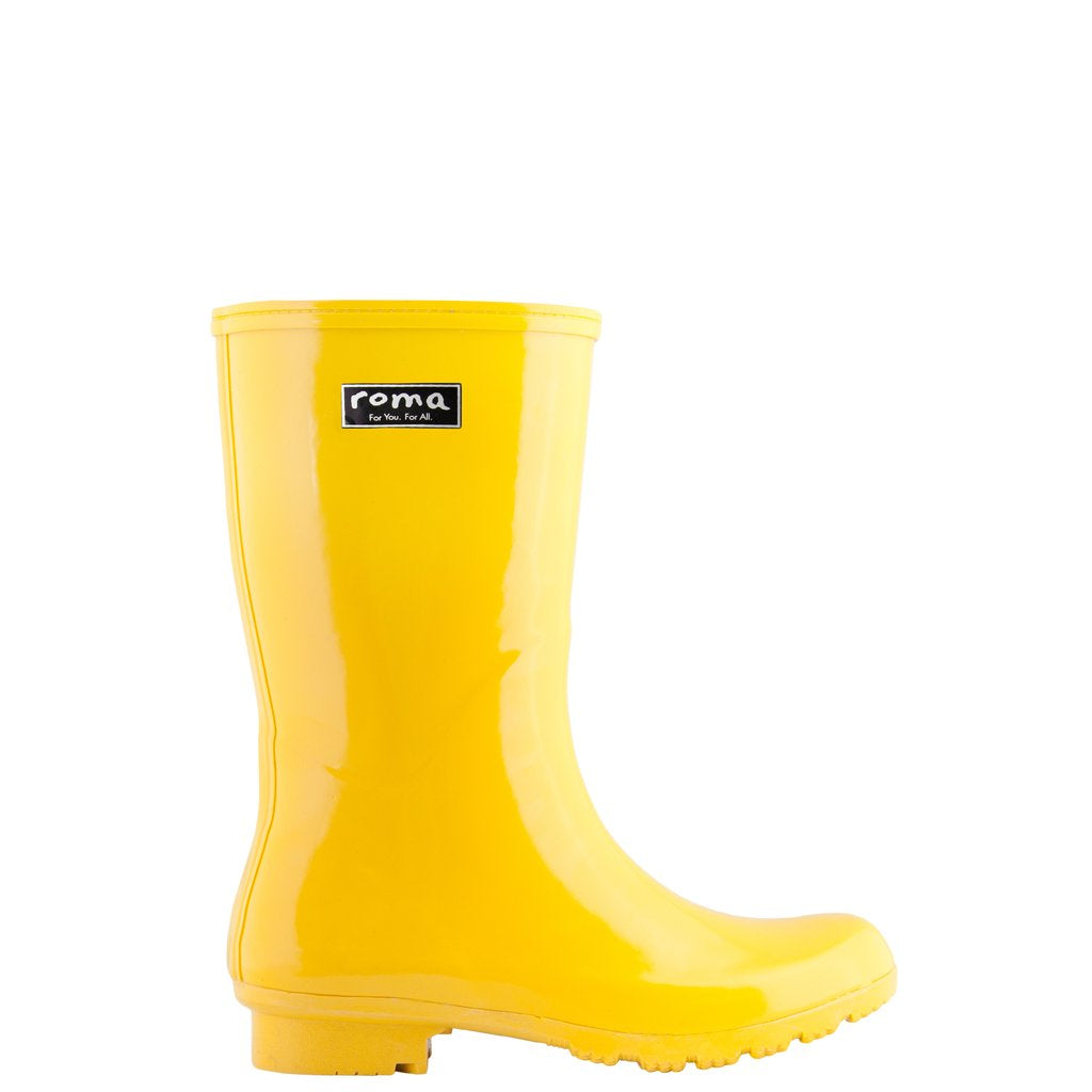Roma Women's Emma Mid  High Ankle Vegan Rain Boots Waterproof,Yellow