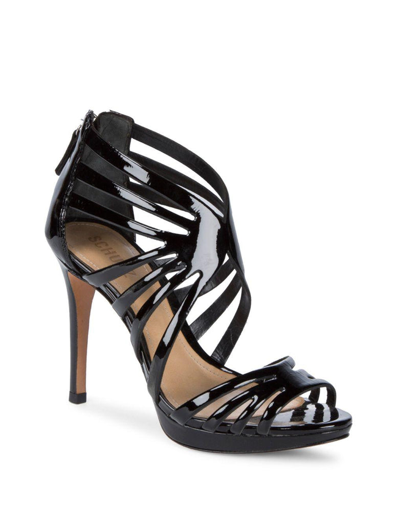 Schutz Women's Yasmine Black Patent Leather Formal Stiletto Sandals