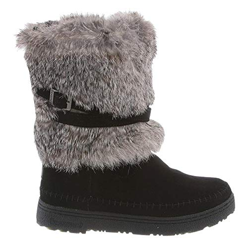 Womens Kara: 10 In Fur Boot Black Suede Mid Calf Boots Warm Winter Boots
