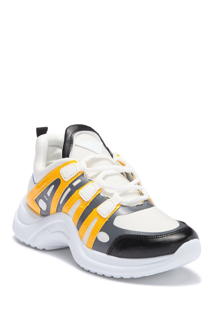 Cape Robbin Yellow White Color Block Arch Lace Up Athleisure Platform Sneakers