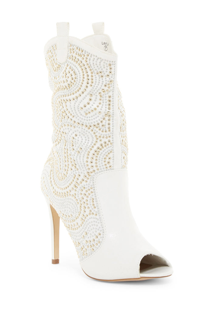Lauren Lorraine Layla White/Gold Embellished Western Tab-Pull Stiletto Boot