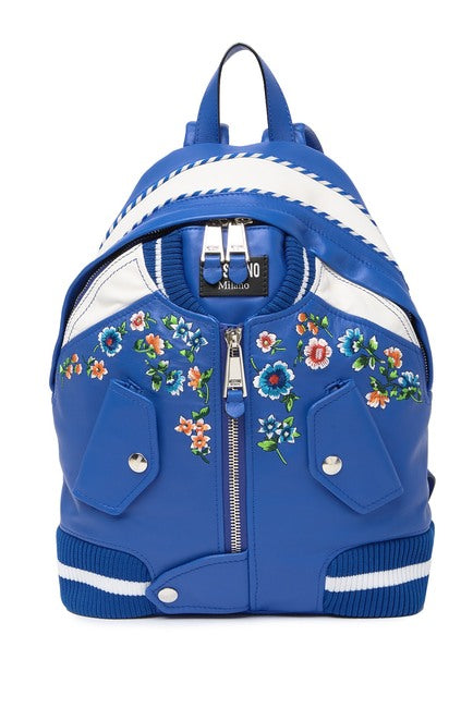 MOSCHINO Floral Embroidered Jacket Backpack Blue 761880023299