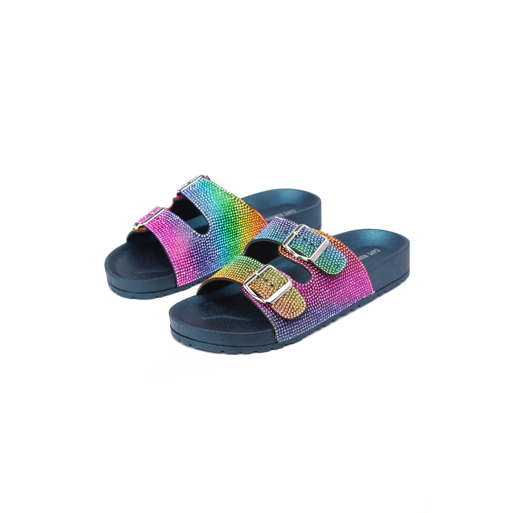 Cape Robbin Minecrft Slide Sandal Black Multi Stone Buckle Mule Slides (10, BLACK)