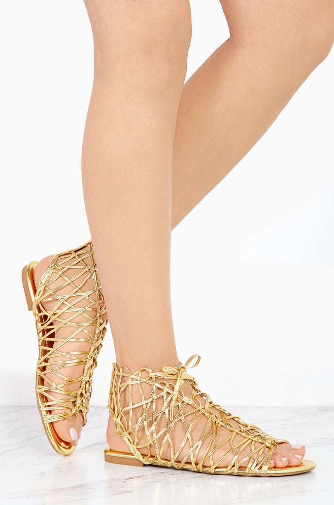 Liliana Denise-1 Gold Metallic Flat Weaved Flat Lace Up Open Haute Sandals
