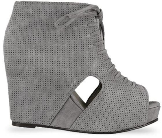 Jeffrey Campbell MARY-ROKS, Grey Perf Cutout Suede Heeled Bootie