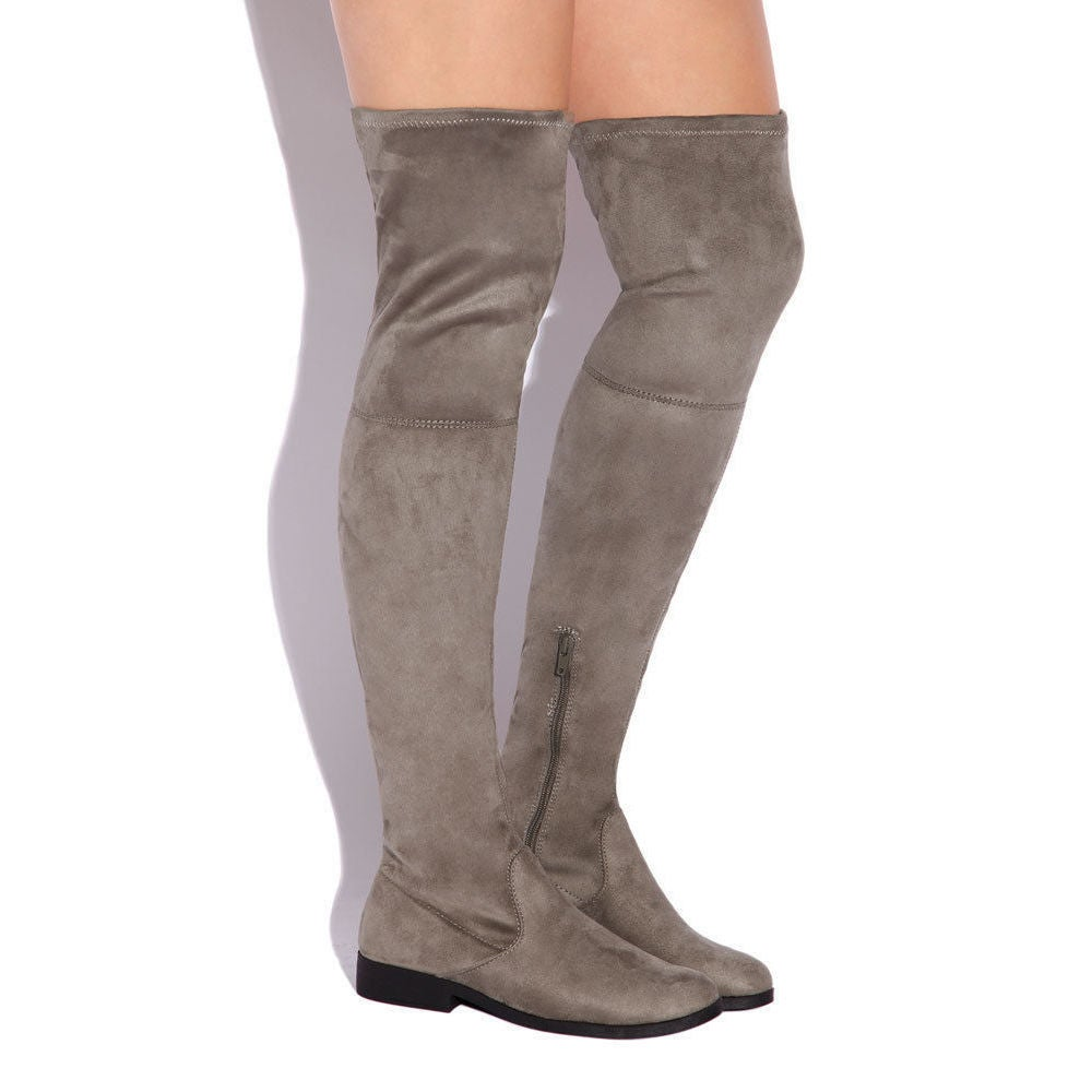 LFL by Lust For Life Women's Radikal Taupe Suede Stretch Fitted Dress Boot