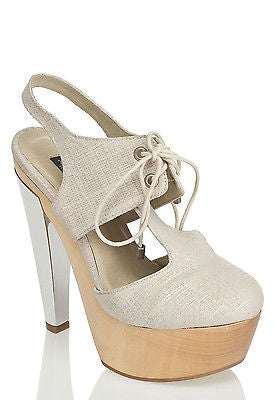 MESSECA MAY HIGH HEEL PLATFORM BEIGE CANVAS SILVER LACE UP ROUND TOE SANDALS
